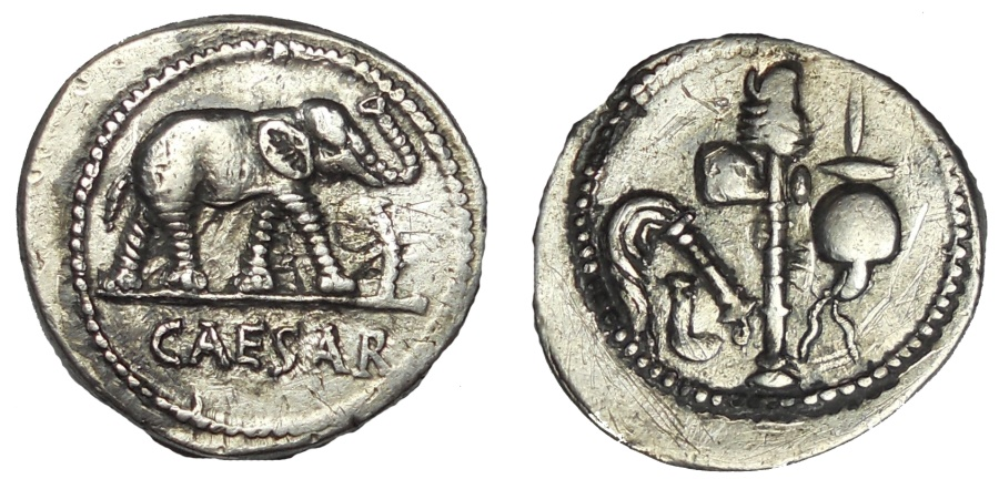 Ancient Coins - Julius Caesar.AR Denarius, mint moving with Caesar, 49-48 BC