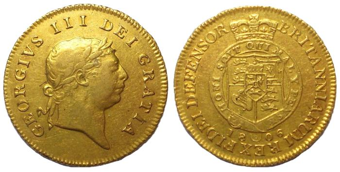 Ancient Coins - George III, 1760-1820.  Gold Half Guinea, Dated 1806.  VF