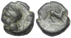 Ancient Coins - Punic Sicily, ca. 4th Century BC.  AE 16 mm