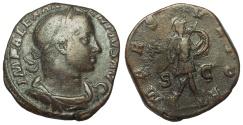 Ancient Coins - Severus Alexander, 222-235 AD. Æ Sestertius, Mars Advancing Reverse
