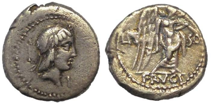 Ancient Coins - L. Calpurnius Piso Frugi, ca. 90 BC. AR Quinarius