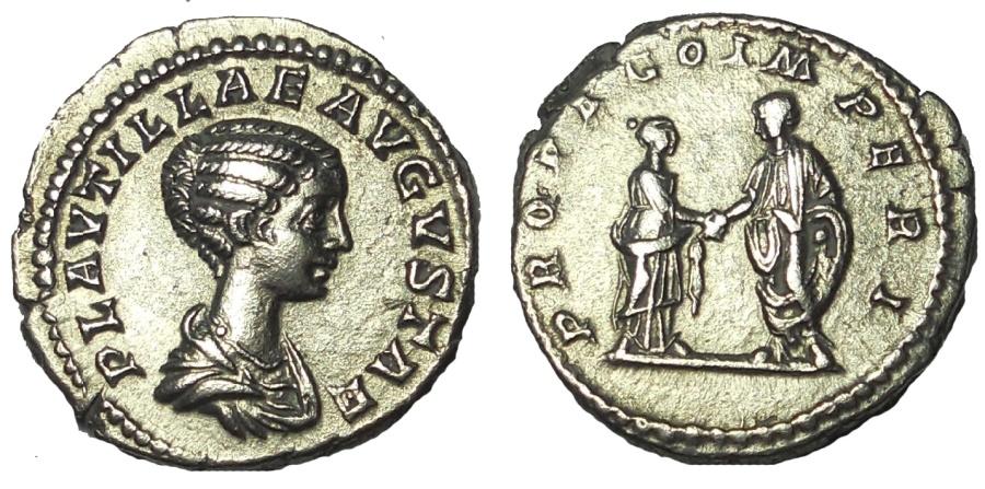 Ancient Coins - Plautilla AR Denarius. Rome, AD 202-205. EF