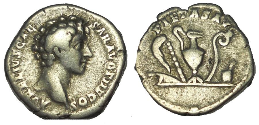 Ancient Coins - Marcus Aurelius. As Caesar, AD 139-161. AR Denarius