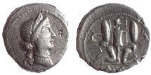 Ancient Coins - Julius Caesar. Late 46-early 45 BC. AR Denarius