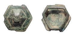 Ancient Coins - Roman Military Bronze hexagon shaped fitting. Rare.
