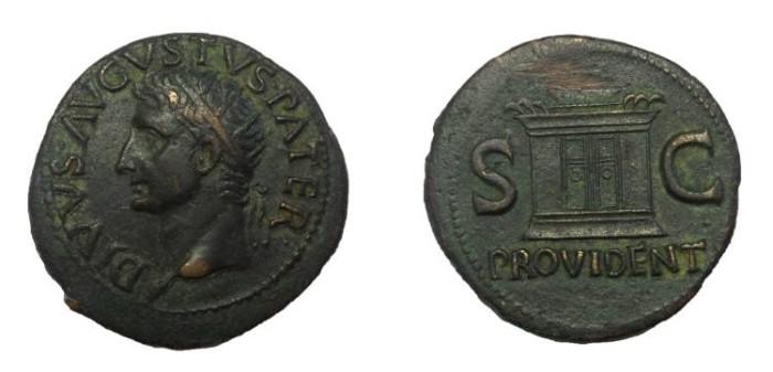 Ancient Coins - Divus Augustus, 27 BC-14 AD.   Æ Dupondius.  Struck under Tiberius. VF