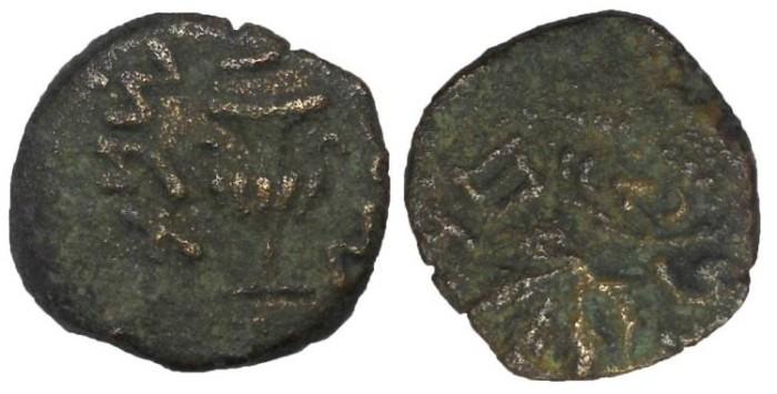 Ancient Coins - Judaea, First Revolt, Æ Prutah, 16 mm
