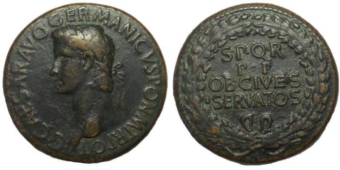 Ancient Coins - Caligula Sestertius, AD 37-41 choice VF Rare