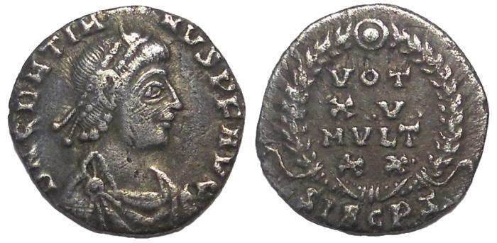 Ancient Coins - Gratian, 378-383 AD.  Votive Siliqua, Siscia Mint.  Scarce