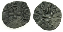 World Coins - CRUSADER.Principality of ACHAIA.Mahault of Hainault AD 1316-1321.Bi.Denier.Type MA1c.