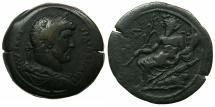 Ancient Coins - EGYPT.ALEXANDRIA.Hadrian AD 117-138.AE.Drachma, struck 131/32 AD.~#~.Nilus seated on crocodile.