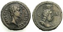 Ancient Coins - EGYPT.ALEXANDRIA.Nerva AD 96-98.Billon Tetradrachm, struck AD 96/97.~#~.Bust of Serapis.