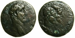 Ancient Coins - PHOENICIA.TRIPOLIS.Antoninus Pius AD 138-161.AE.21mm, struck AD 147/148.~#~.Jugate heads of The Dioscuri wearing Pileus.