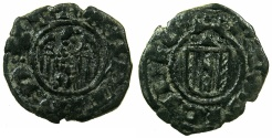 World Coins - ITALY.SICILY.Martin I AD 1402-1409.AE.Denaro.Mint of MESSINA.