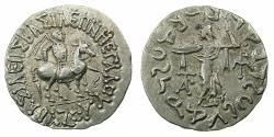 Ancient Coins - INDO SKYTHIAN.Azes circa 58-12BC.AR.Tetradrachm. Bilingual legends: Greek / Kharoshi. Reverse. Athena Alkidemos.