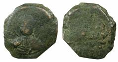 World Coins - CRUSADER STATES.Principality of ANTIOCH.Tancred AD 1104-1112.AE.Follis.1st type, large flan. Facing bust of Saint Peter.