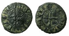 World Coins - SPAIN.Castile and Leon.Sancho IV 1284-1295.AE.Meaja Coro Coronada( Sesino).Uncertain mint.