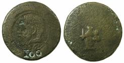 World Coins - MILAN.Philip II AD 1556-1598.Copper weight for gold 4 doppia. Obverse bare headed bust of Philip II.