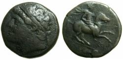 Ancient Coins - SICILY.SYRACUSE.Hieron II 275-216 BC.AE.27.4mm. ~#~.Calveryman riding right.