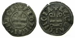 World Coins - CRUSADER STATES.GREECE.Principality of ACHAIA.Florent of Hainault AD 1289-1297.Bi.Denier.Type F2.Mint of CORINTH.