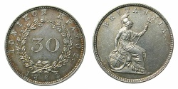 World Coins - GREECE.Ionion Islands.British Administration.AR.30 Lepta 1862. *****REVERSE STRUCK FROM CLASHED DIES*****