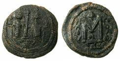 Ancient Coins - ARAB BYZANTINE.Anonymous 7th AD.AE.Fals. Two Standing Imperial figures.Mint of BAALBEK / HELIOPOLIS.***Rare varient Cross on steps between figures, star below.***
