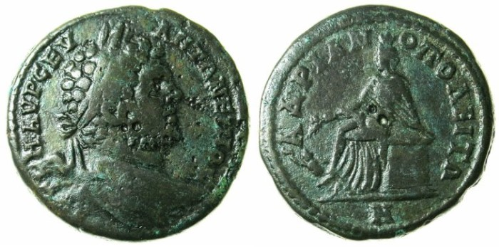 Ancient Coins - THRACE.Hadrianopolis.Caracalla AD 198-217.AE.27.Rev.Tyche seated with swimmer at side.