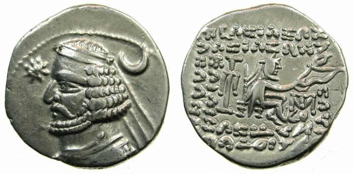 Ancient Coins - PARTHIA.Orodes II 57-38 BC.AR.Drachma.Mint of MITHRADATKART. No wart on forehead.