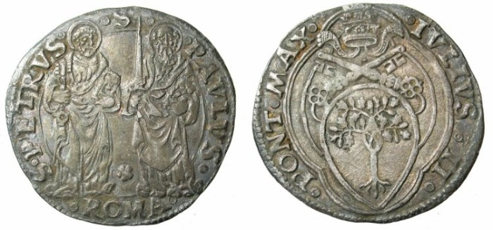 Ancient Coins - ITALY.VATICAN.Pope Julius II AD 1503-1513.AR.Giulio.Rome mint.Saints Peter and Paul.