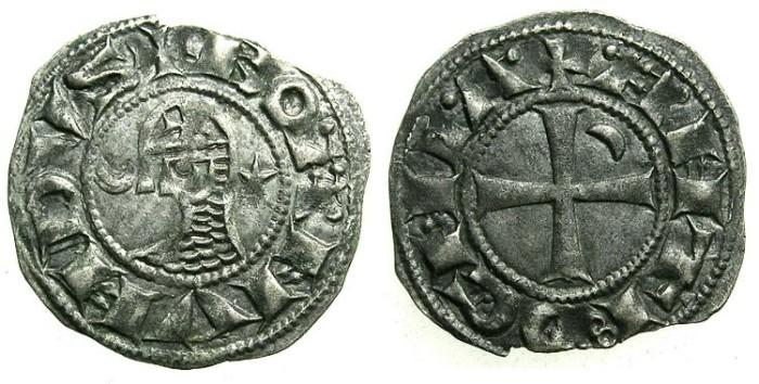 Ancient Coins - CRUSADER. Antioch. Bohemond III or IV c.1149-1233 Bi.Denier Class E.