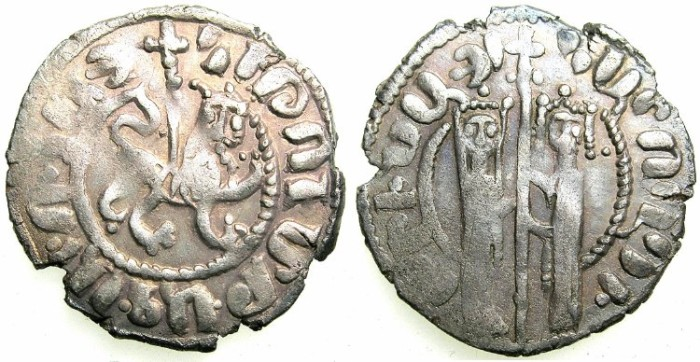 Ancient Coins - ARMENIA.Hetoum I and Zabel AD 1226-1271.AR.Tram.