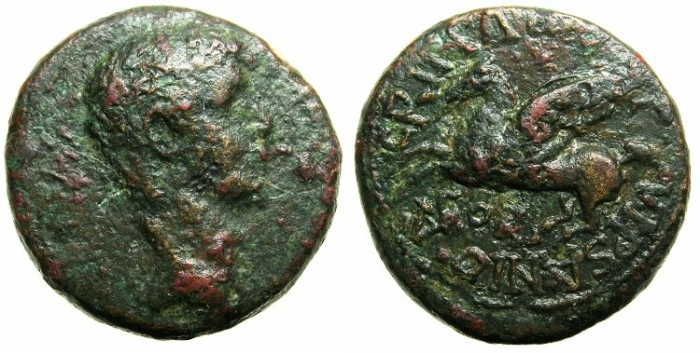 Ancient Coins - CORINTHIA.CORINTH.Caligula AD 37-41.AE.20.~~~Pegasus flying left.