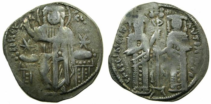 Ancient Coins - BYZANTINE EMPIRE.Andronicus II and Michael IX 1295-1320.AR.Basilikon. Mint of Constantinople.