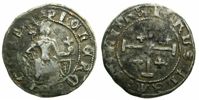 Ancient Coins - CRUSADER.CYPRUS.Peter II AD 1369-1382.AR.Gros Grand.Light-weight issue.