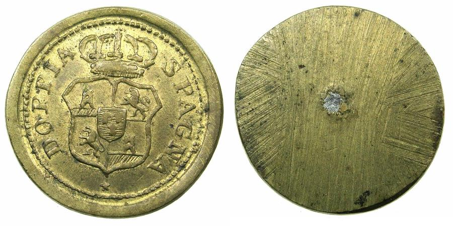 World Coins - ITALY.MILAN? Late 18th cent. Brass weight for Spanish gold 8 Escudos.