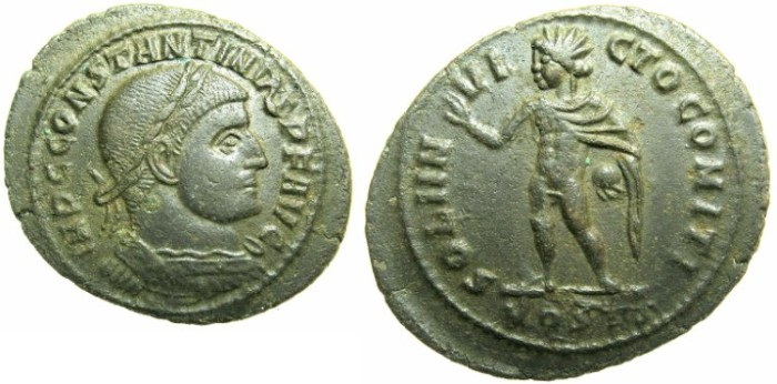 Ancient Coins - ROMAN.Saint Constantine I The Great AD 307-337.AE.Follis.Mint of OSTIA.~#~ SOL standing radiate.