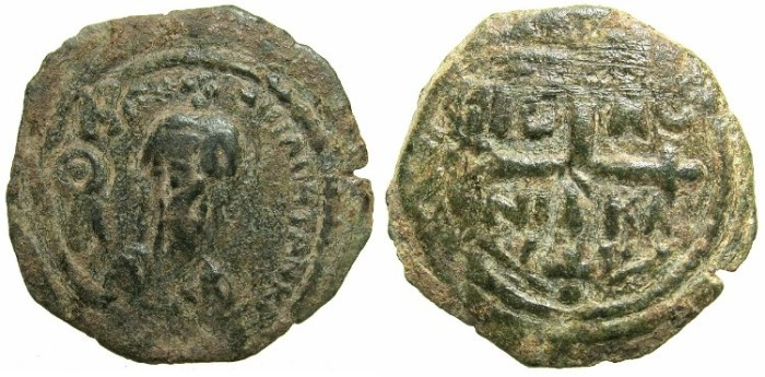 World Coins - CRUSADER.Principality of Antioch.Tancred AD 1104-1112.AE.Follis.~~~ Facing bust of Tancred holding naked sword.