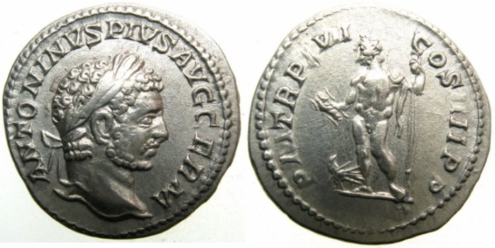 Ancient Coins - ROMAN.Caracalla Sole Emperor AD 212-217.AR.Denarius AD 214.~~~JUPITER.