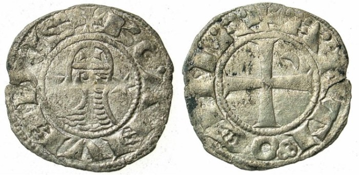 Ancient Coins - CRUSADER.Antioch. Bohemond III or IV c.1149-1233 Bi.Denier Class E