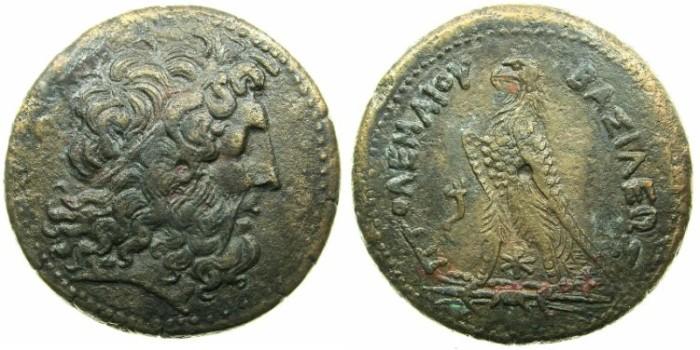 Ancient Coins - EGYPT.Ptolemy III Euergetes I 246-221 BC.AE.Drachma.Alexandria mint.~#~.Zeus Ammon.~#~Eagle