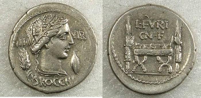 Ancient Coins - ROME Republic L.Furius Cn f Brocchus 63BC AR Denarius