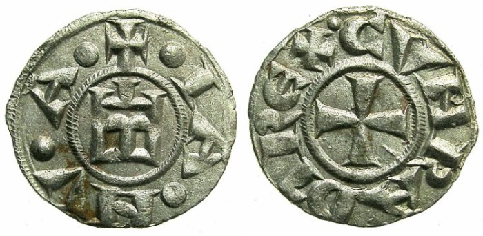 Ancient Coins - ITALY.GENOA.Republic 1139-1339.AR.Denier.'Thorn'in third quarter of cross.