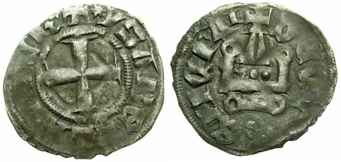 Ancient Coins - CRUSADER.Principality of ACHAIA.Isabella of Villehardouin AD 1289-1297.Bi.Denier.Type Y4.