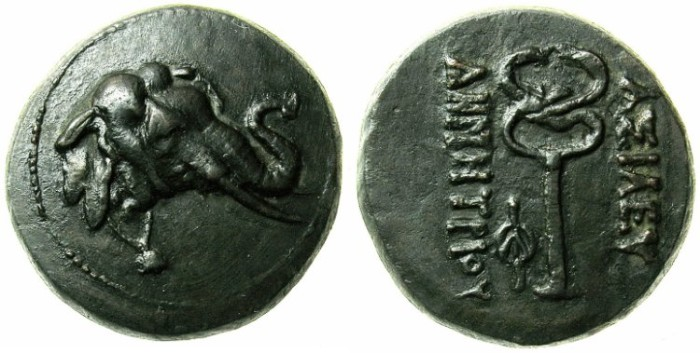 Ancient Coins - BACTRIA.Demetrios I c.200-185 BC.AE.Triple Unit.Elephant with bell.Rev.Caduceus