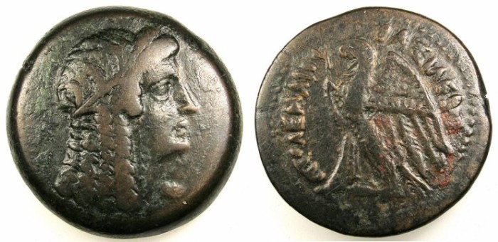 Ancient Coins - PTOLEMAIC EMPIRE.ALEXANDRIA.Ptolemy V Epiphanes 205-180 BC.AE.29.Bust of Isis(?)