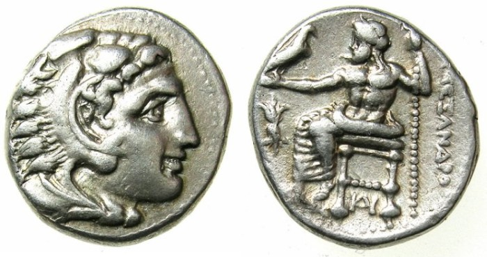 Ancient Coins - MACEDON.Alexander III The Great 336-323 BC.AR.Drachma struck C.325-323 BC.Mint of MILETUS. ~~~Herakles with a pleasing smile.