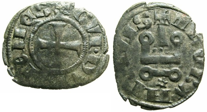 Ancient Coins - CRUSADER.Dukes of ATHENS.Guy II of la Roche AD 1287-1308.Bi.Denier.Type 2.
