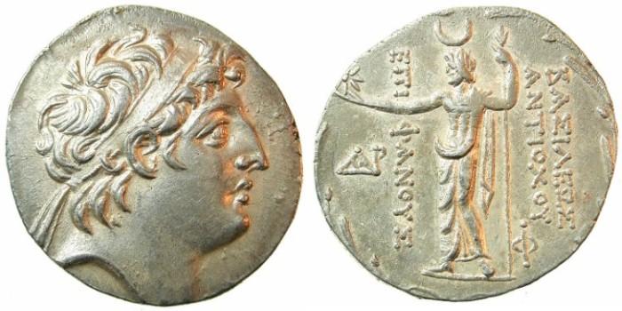 Ancient Coins - SELEUCID EMPIRE.Antiochus VIII 121-96 BC.AR.Tetradrachm.Mint of AKE-PTOLEMAIS