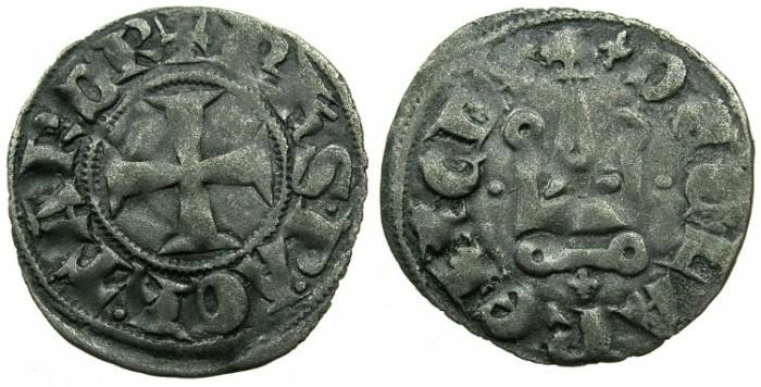 World Coins - CRUSADER.Principality of ACHAIA.Philip of Taranto AD 1307-1313.Bi.Denier.Type 1.