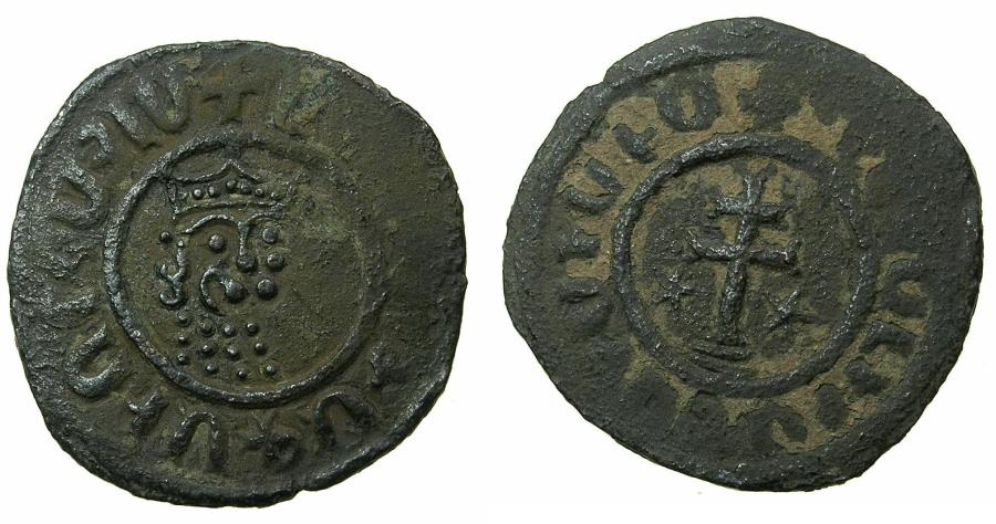 World Coins - ARMENIA, Cilician kingdom. Levon I 1198-1219.AE.Tank.Mint of SIS. Obverse. Two curles, seven dots on crown.